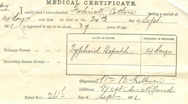 certificato di morte di Frederick Cotton