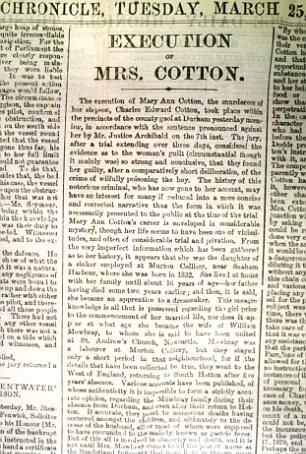 Articolo di giornale sulla morte di Mary Ann Cotton