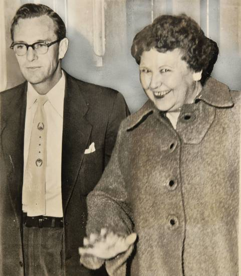 Nannie Doss, 49, walks into the county attorney's office with investigator Ross Billingsley on Nov. 27, 1954. Copied from Oklahoman print archive Wednesday, Feb. 23, 2011. Photo by Doug Hoke, The Oklahoman
